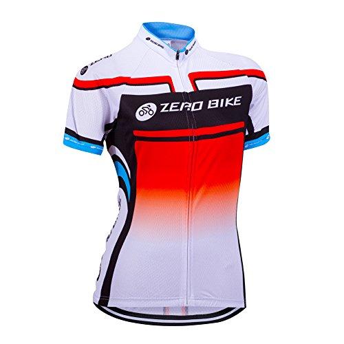 ZEROBIKE Donne comode Full-Zip Manica Corta T-Shirt Signore della Bicicletta Jersey Cycling Jersey Giacca Ciclismo Camicia Quick Dry Traspirante Sportwear