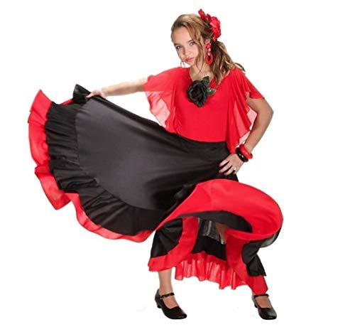 Falda infantil de flamenco, color negro y rojo, Taille 10:130-148CM