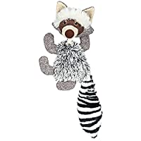 A cute and attractive racoon plush toy for dogs Made of high quality plush and jute with rope Creates sound on squeezing Provide lots of fun to your dog Perfect toy for dogs of all sizes