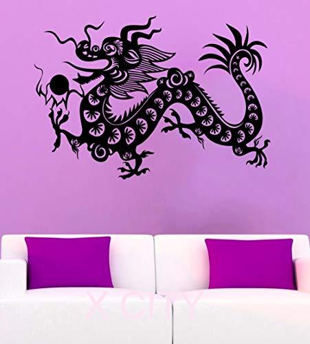YuanMinglu Chinesischen Drachen Wandaufkleber Geheimnis Oriental Mythische Vinyl Applique Oriental Pearl Home Interior Design Kunstwand Wohnzimmer Dekoration 69,6X99,6 cm