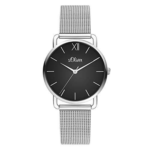 s.Oliver Damen Analog quarz Armbanduhr mit Edelstahl SO-4150-MQ