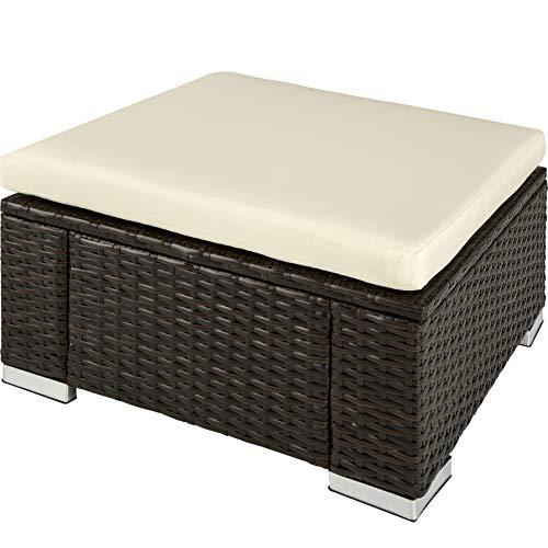 TecTake 800768 Poly Rattan Sitzhocker mit Kissen, Lounge Hocker für Garten Balkon Terrasse, witterungsbeständig - Diverse Farben - (Mixed-Braun | Nr. 403404)