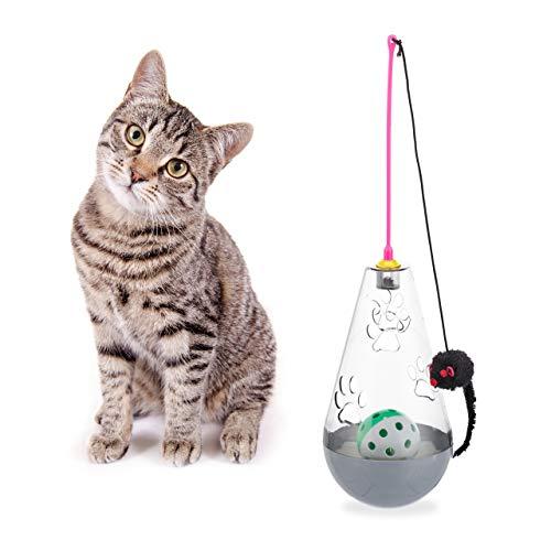 Relaxdays Katzenspielzeug, interaktiv, wippend, Snackball, Spielangel mit Spielzeugmaus, Ball mit Glöckchen, 3in1, grau