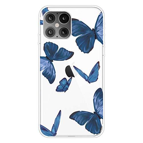 """Nadoli Transparent Silikon Hülle für iPhone 12 Pro Max 6.7"""",Durchsichtig Klar Lustig Kreativ Leicht Dünn Weiche Stoßfest Handyhülle Schutzhülle mit Blau Schmetterling Muster"""