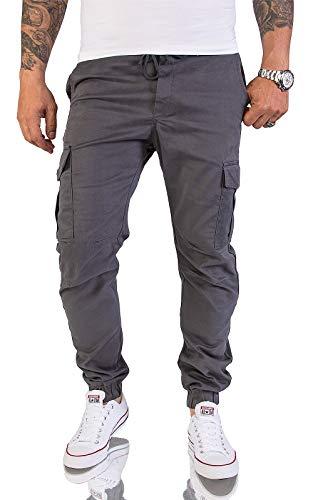 Rock Creek Herren Cargohose Chinohose Outdoor Herrenhose Tapered Jogging Pants Hose mit Taschen Beintaschen Männer H-179 Anthrazit W40 L34