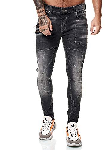 OneRedox Designer Herren Jeans Cargohose Regular Skinny Fit Jeanshose Destroyed Stretch Modell 8030 Antrazit 33