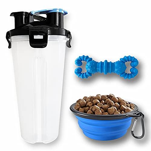 Bebedero portatil Perro con Capacidad para Comida y Agua Que Incluye mordedor de Hueso. Botella de Agua para Perros y Gatos con Cuenco Plegable Cualquier Viaje con tu Mascota.