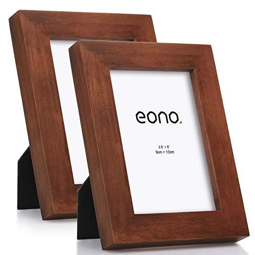 Eono by Amazon - 9x13 cm Bilderrahmen (2er-Pack) Hergestellt aus Massivholz mit Hochauflösendem Glas Geeignet zum Aufstellen oder Wandhängend Fotorahmen mit Ständer Braun