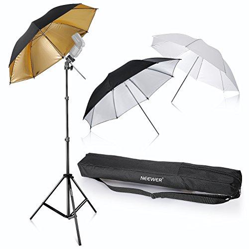 Neewer® Flash Mount Tres paraguas Kit 33'/84cm Blanco Suave/Plateado Reflectante/Dorado Paraguas Reflectante para Canon 430EX II, 580EX II, Nikon SB600 SB800, Yongnuo YN560, YN565, Neewer TT560, TT680