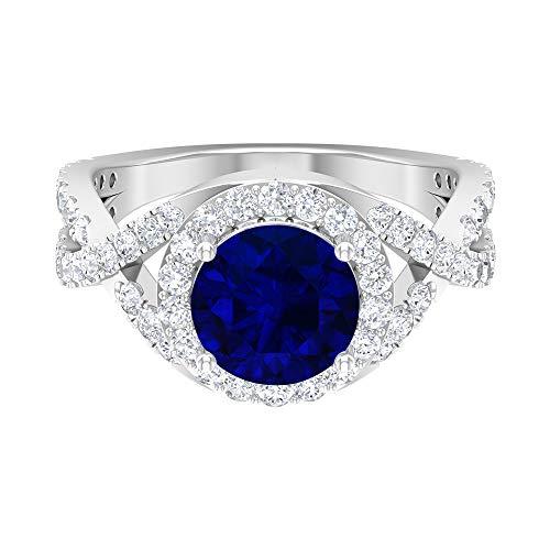 Anillo de halo solitario, piedras preciosas redondas de 3,25 quilates, diamante HI-SI 8 mm, anillo de compromiso de zafiro azul, anillo de vástago espiral, 14K Oro blanco, Size:EU 58