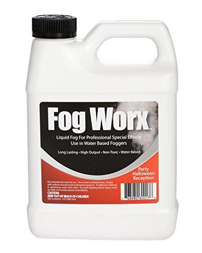 FogWorx Fog Juice – 1 Quart of Organic Odorless Fog Fluid (32 oz) – Medium Density, High Output, Long Lasting Fog…