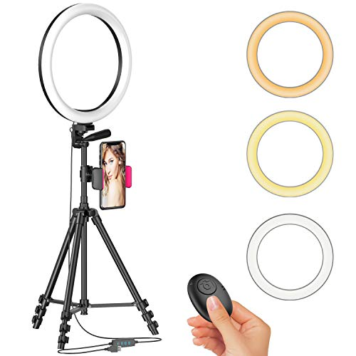 """12"""" Ring Light with 51'' Extendable Tripod Stand & Cellphone Holder for Live Stream/Makeup/YouTube Video, Dimmable LED Beauty Selfie Ringlight for TikTok Photography, Color Temperature 3000K-6000K"""
