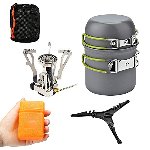 Camping Cookware Set with 3000W Camping Stove Cooking Pots Pans Tank Bracket For Outdoor Picnic Camping Hiking Backpacking