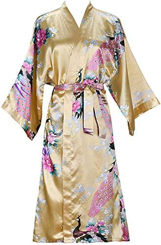 Satén De Seda Boda Novia Dama De Honor Albornoz Floral Albornoz Corto Kimono Bata Bata De Noche Bata De Baño Bata De Moda para Mujer XXXL Amarillo