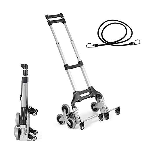 RELAX4LIFE Treppensteigwagen, höhenverstellbare Sackkarre mit 10 Rädern, faltbare Transportkarre mit ausziehbaren Griffen & Expanderseil, Treppensteiger bis zu 80 kg belastbar, Handkarre aus Aluminium