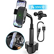 Wireless Car Charger, Squish 2-in-1 Universal Cell Phone Holder Cup Holder Phone Mount Car Air Vent Holder for iPhone, Samsung, Moto, Huawei, Nokia, LG, Smartphones