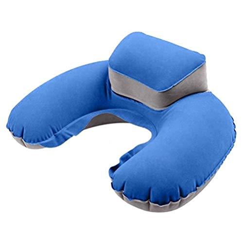 Wakauto Almohada Inflable de Viaje Almohadas con Forma de U de Soporte para El Cuello Almohada de Aire Portátil Adecuada para Viajes de Campamento Al Aire Libre (Azul Zafiro con Tapón para Los Oídos)