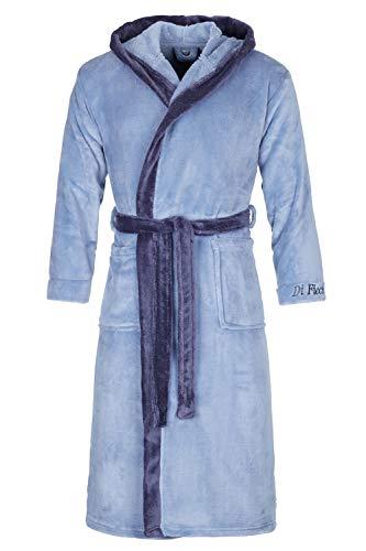 Di Ficchiano Herren Bademantel Monza mit Kapuze I Morgenmantel flauschig I Nachtwäsche aus edler Mirkofaser Farbe: Jeans Blue, Grösse: L