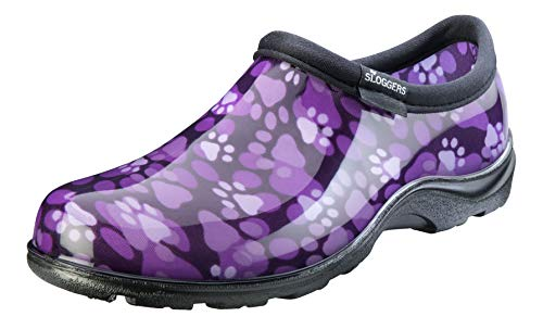 Sloggers Women's Waterproof Rain and Garden Shoe with Comfort Insole, Purple Paw Print, Size 10, Style 5114QP10