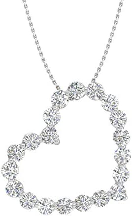 1 2 Carat Diamond Heart Pendant Necklace in 14K White Gold with Silver Chain product image