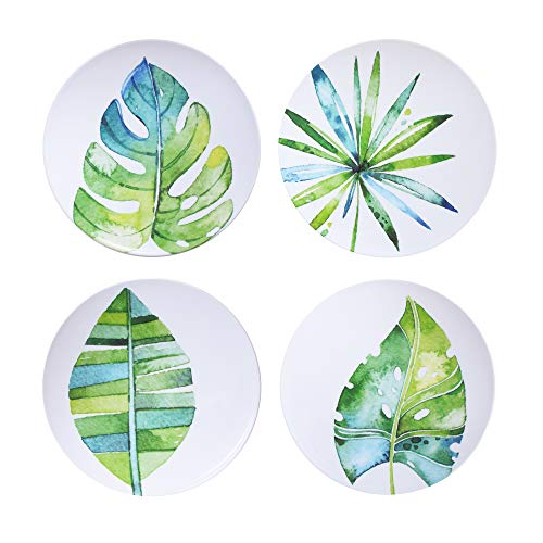 American Atelier Botanical Watercolor Set of 4 Melamine Plates-Round Durable, Lightweight-Indoor & Outdoor-for Dinner Party, Backyard Barbecues, Picnics & Parties, Unbreakable, 10.5', Blue/Green