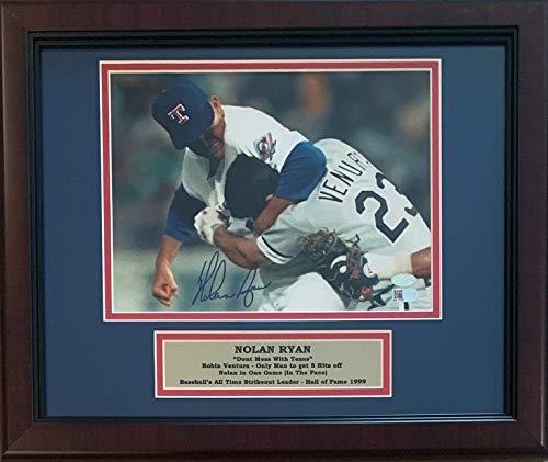 Nolan Ryan Autographed Texas Rangers Signed Framed 8x10 Photo Fight Punching Robin Ventura AI Verified