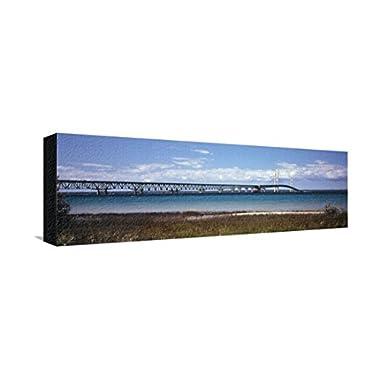 Bridge Across a Lake, Mackinac Bridge, Lake Michigan, Mackinaw City, Michigan, USA, Stretched Canvas Print, 24x8 in