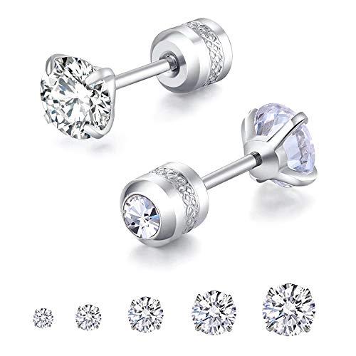 5 Pairs Stud Earrings Set,Hypoallergenic Earrings 316L Stainless Steel Double Round Cubic Zirconia Ear Ringing Jewelry for Women Men Boys & Girls 2-6mm Silver (Silver)