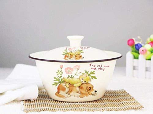 Mzxun Cazuela, Fuentes for horno, esmalte Cuenco con tapa esmalte olla con tapa Soup Bowl con tapa esmalte Pot Manteca de cerdo Pot 26cm