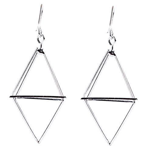 Underleaf hohlen dreieck baumeln Ohrringe Geometrie Pyramide Form ohrring für Frauen Laterne Legierung großen ohrring schmuck Geschenke (Silber)