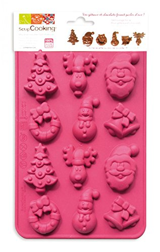 ScrapCooking 6725 Moule-Chocolats de Noël, Silicone, Rose, 23 x 14,5 x 1 cm