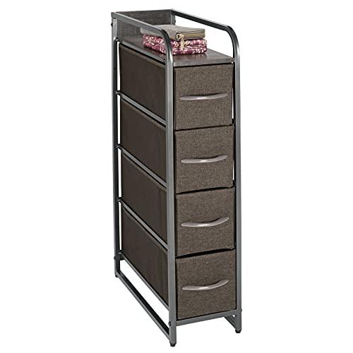 mDesign Kommode aus Stoff – praktischer Schrank Organizer mit vier herausnehmbaren Schubladen – schmales Aufbewahrungssystem für Schlafzimmer oder Flur – dunkelgrau