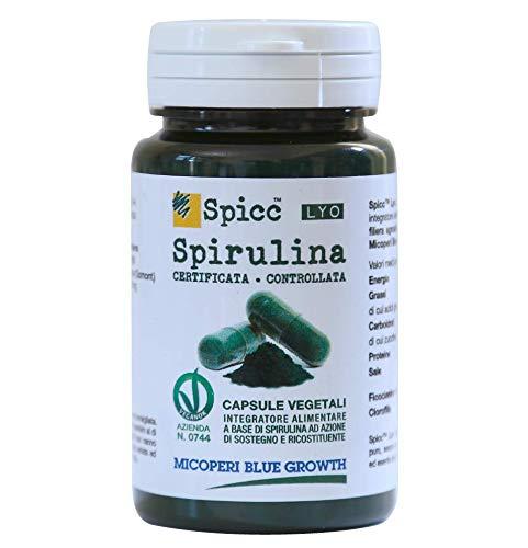 MICOPERI BLUE GROWTH - Spirulina Certificata - Spicc Lyo Capsule Vegetali - Naturale Energia - Alimento completo - Ricco di ferro e proteine - Prodotta in Italia – Vegan – Superalimento