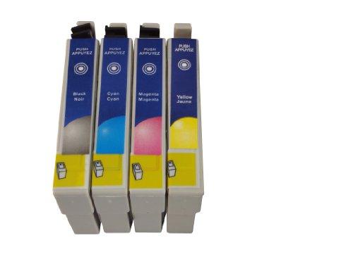 4 cartuchos de impresora compatibles reemplazan Epson T0711, T0712, T0713, T0714, adecuado para Epson D78 / D92 / D120/ DX4000 / DX4050 / DX4400 / DX4450 / DX5000 / DX5050 / DX6000 / DX6050 / DX7000F / DX7400 / DX7450 / DX8400 / DX8450/ DX9200/ DX9400F / S20 / S21 / SX100 /SX110 / SX200 / SX205 /SX218 / SX400 / SX400WiFi / SX405WiFi / SX410 / SX510 /SX510W / SX515 / SX515W SX600FW /SX610FW / Office B40W / Office BX300F / Office BX310 / Office BX310FN / Office BX600FW / Office BX610FW