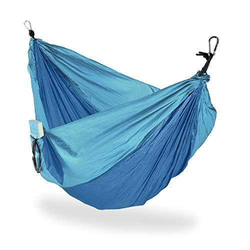 Relaxdays, Blu Esterno, Amaca da Viaggio Matrimoniale, Ultraleggera, da Campeggio, Fino a 200 kg, in Diversi Colori
