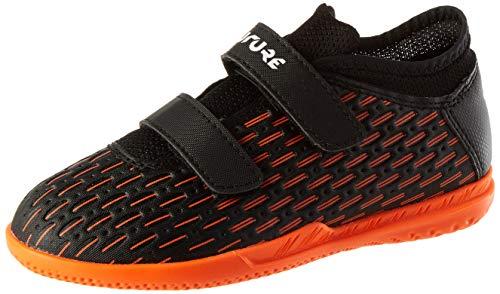 Puma Future 6.4 It V Jr, Unisex-Kinder Fußballschuh, Schwarz-Puma Weiß-Schockierende Orange