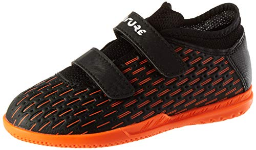PUMA Future 6.4 IT V Jr, Scarpe da Calcio Unisex-Bambini, Nero Black White-Shocking Orange, 34.5 EU