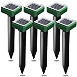 USKICH Solar Mole and Groundhog Repellent Stakes Sonic Vole Repeller Gopher Deterrent Spikes-Get Rid of Burrowing Animals Waterproof (6 Pcs Green)