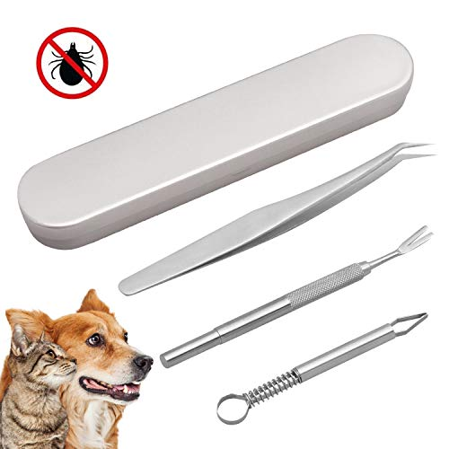 Reastar Zeckenzange 3 Stück Zeckenpinzette Zeckenentferner ZeckenhakenEdelstahl - für Hunde/Katzen/Pferde/Haustiere/Menschen (mit Aufbewahrungsbox)