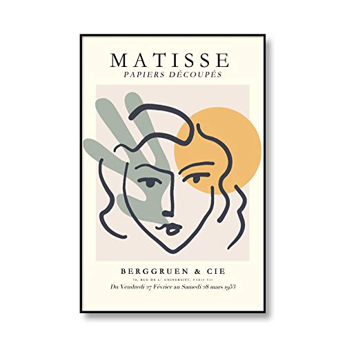 Henri Matisse Pittura Astratta su Tela Vintage Mostra Poster Beige Wall Art Picture Home Frameless Canvas Painting E 60x90cm