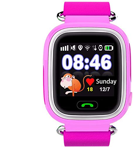 SmartWatch Teléfono Niño Niña, Pantalla táctil Reloj Inteligente Localizador GPS LBS WiFi con Chat de Voz SOS Cámara Despertador Reloj Digital Watch Regalo Estudiante Compatibles con iOS Android,Rosa