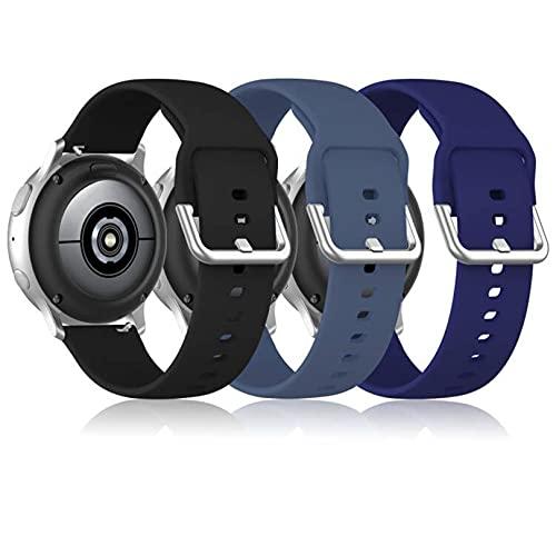 Wizvv Cinturini per orologi in silicone da 20 mm compatibili con Samsung Galaxy Watch 4 Active 2 40 mm / 42 mm / 41 mm / Gear S2 Classic Sport / Garmin Vivoactive 3 (3 pezzi)