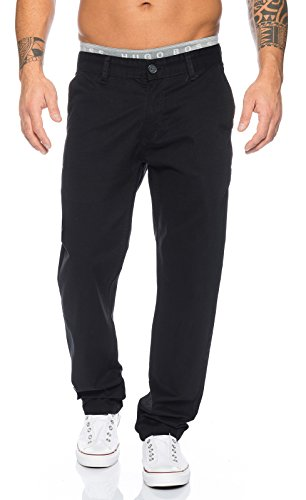 Rock Creek Herren Designer Chino Stoff Hose Chinohose Regular Fit Herrenhose W29-W40 RC-2083 [RC-2083 - Schwarz - W36 L34]