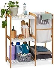 Relaxdays Badrumshylla tvättkorg, stående och öppen och MDF hyllenhet, HWD 76 x 65,5 x 33 cm, naturlig, 76 x 65,5 x 33 cm