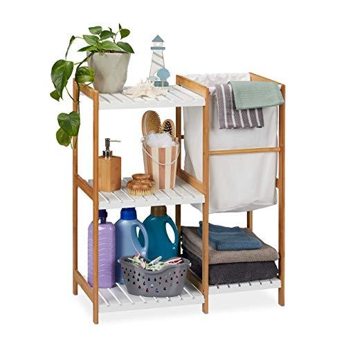 Relaxdays Badregal mit Wäschekorb, offen & stehend, Badezimmer Regal aus Bambus & MDF, HBT 76 x 65,5 x 33 cm, natur/weiß