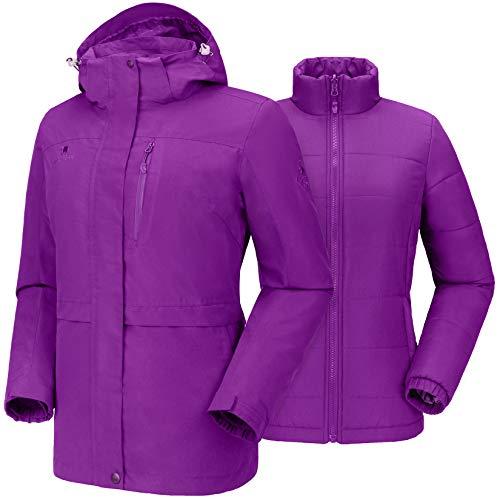 CAMEL CROWN Women s Windproof Waterproof Jacket Softshell Warm Puffer Liner Outdoor Coat with Detachable Hood Functional Rain 3 in 1 Snow Jacket