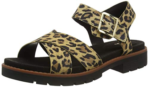 Clarks Orinoco Strap, Sandalias de Talón Abierto Mujer, Negro (Leopard Print Leopard Print), 37 EU