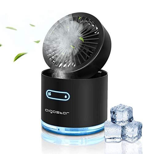 Aigostar Windgift - Mini ventilador nebulizador USB, 3 velocidades, 7 colores de iluminación, depósito 300ml. 2 Modos de pulverización, plegable y apagado automático. Uso en casa, oficina o viajes