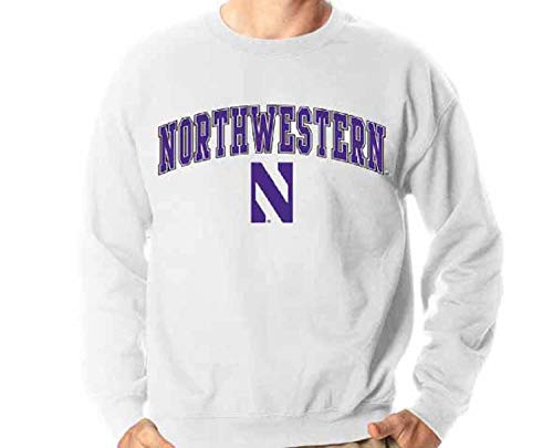 Campus Colors Erwachsene Arch & Logo Soft Style Gameday Crewneck Sweatshirt (Northwestern Wildcats – Weiß, X-Large)