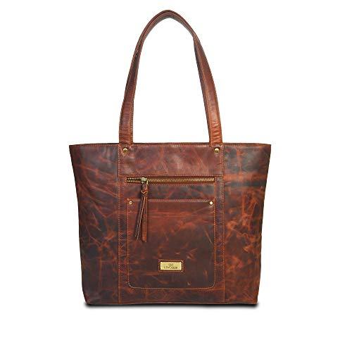 Genuine Leather Crossbody Handbag for Women - Shoulder bag for Womens Handmade by LEVOGUE (VINTAGE COGNAC)